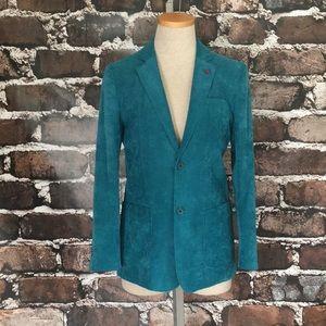 Isaac Mizrahi New York Blazer Jacket Corduroy Teal